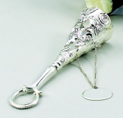 FLORAL TUSSIE MUSSIE WITH PLATE - FLORAL TUSSIE MUSSIE W/ ENG. PLATE, SILVER PLATED.