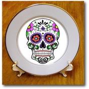 cp_186236_1 EvaDane - Signs - Sugar skull. Day of the Dead. Dia de Muertos. Pink flowers. - Plates - 20cm Porcelain Plate