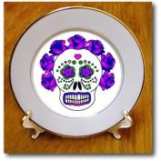 cp_24638_1 Janna Salak Designs Day of the Dead - Day of the Dead Skull Día de los Muertos Purple - Plates - 20cm Porcelain Plate