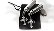 Set of TWO Silver Filigree Cross Anointing Oil Vial Holder Keychains with Velvet Pouch