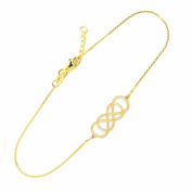 Dainty 14k Yellow Gold Double Infinity Bracelet, 19cm Adjustable to 20cm