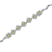 Peridot Cluster Bracelet Sterling Silver Rhodium Nickel Finish 2.50 Carats
