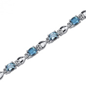 London Blue Topaz Bracelet Sterling Silver Rhodium Nickel Finish 5.50 Carats Classic Design