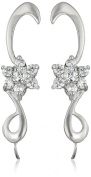 The Ear Pin Cubic Zirconias Cluster Centre Sterling Silver Earrings