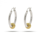 Sterling Silver Two Tone Hoop Earrings