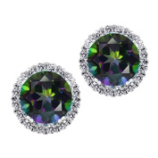 3.44 Ct Round Natural Green Mystic Topaz 925 Silver Stud Earrings With Jackets