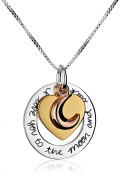 """Tri-Colour Sterling Silver with Yellow and Rose Gold Flashed """"I Love You To The Moon and Back"""" Heart Pendant Necklace, 46cm"""