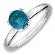 1.3ct Cool Silver Stackable Blue Topaz Briolette Ring. Sizes 5-10 Available
