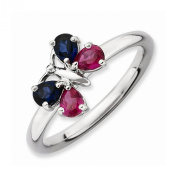 Best Designer Jewellery Sterling Silver Stackable Expressions Cr Ruby & Cr Sapphire Butterfly Ring