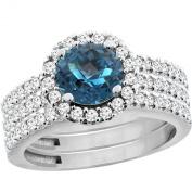 10K White Gold Natural London Blue Topaz 3-Piece Bridal Ring Set Round 6mm Halo Diamond, sizes 5 - 10