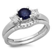 14K White Gold Blue Sapphire & White Diamond Bridal 3 Stone Engagement Ring Wedding Set