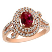 2.19 Ct Oval Red Created Ruby 925 Rose Gold Plated Silver Ring