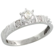 Sterling Silver Diamond Engagement Ring, w/ 0.06 Carat Brilliant Cut Diamonds, 1/8in. (3.5mm) wide, Size 9