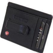 New Leather Mens Money Clip Spring Clip Front Pocket Wallet by Alpine Swiss Thin Black Money Clip