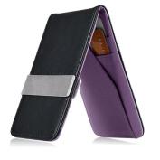 INSTEN Black/Purple Mens Faux Genuine Leather Silver Money Clip Wallets ID Credit Card Holder