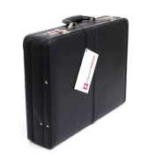 Expandable Leather Attache Case Briefcase Hard Sided Legal Size 1 Yr Warranty NW Black