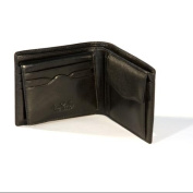 Tony Perotti Mens Italian Bull Leather Bifold Wallet with Removable ID Card Case and Coin Pocket in Black