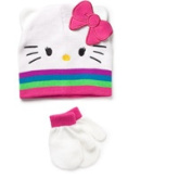 Hello Kitty Baby Toddler Girl Hat and Mitten Gift Set