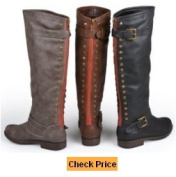 Brinley Co. Women's Studded Buckle Detail Boots