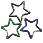Key Carabiner - Set of Three Star Shaped in Assorted Colours