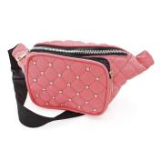 Ladies . Peach Padded Studded Bum Bag