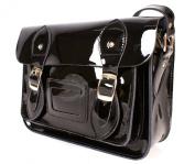 SR0074 28cm Black Metallic Magnetic Snap Satchel - Patent Black Leather Small Fashion Bag