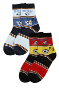 Weri Spezials 2 Pairs Unisex-Kids 7:1 Fan Sock Fantastic football history! Blue/Jeans - Red/Gold