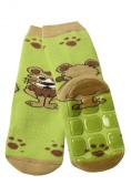 Weri Spezials Baby-Unisex Terry ABS Lionet Slippers Anti Non Slip Socks Green