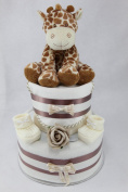Unisex Two Tier Nappy Cake with Cute Giraffe New Born Baby Shower Gift