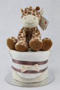 Neutral Single One Tier Unisex Nappy Cake with Cute Giraffe Baby Shower Maternity Gift
