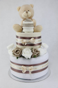 Unisex Two Tier Nappy Cake New Born Baby Shower Gift