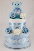 Baby Boy Two Tier Nappy Cake New Born Baby Shower Gift with Sock Cupcake