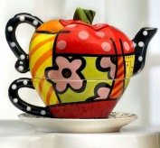 Romero Britto Collectible APPLE Teapot for one Set