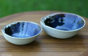 Stoneware ceramic bowls, 'Mystic Blue Oysters'