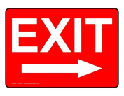 ComplianceSigns Vinyl Exit Label, 18cm x 13cm . with English, Red