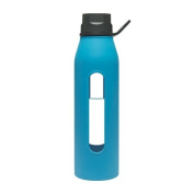 Takeya Classic Glass Water Bottle with Silicone Sleeve, Black/Cobalt, 650ml