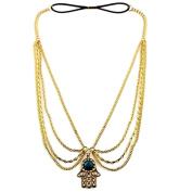 Golden Alloy Turquoise Hand Shape Drop Chain Headdress