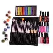 Ultimate 56 Piece Party Beauty Set Including Hair Chalk, Glitter Pots, Nail Polish and Make Up Nail Art Kit by Kurtzy TM