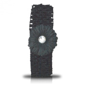 SHUKAN FASHIONS - NEW BABY GIRL CROCHET HEADBAND BLACK HAIR BAND WITH DAISY FLOWER FREE.