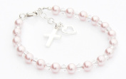 Christening Bracelet - Sterling Silver, Pearl and Crystal - Gift Packaged Christening Gift