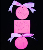 BabyRice Baby Girl Toddler Soft Pink Clay Dough for Hand prints & Footprints Imprints - in a Pretty Organza bag & Ribbon