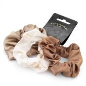 Set of 3 Brown Tones Satin Feel Hair Scrunchies Bobbles Elastic Hair Bands