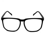 Vintage Retro Style Oversized Matt Black Square Frame Nerd Geek Clear Lens Glasses