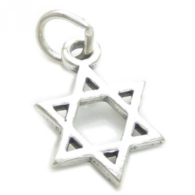 Star of David small sterling silver charm .925 x 1 Holy Religious stars CF1816