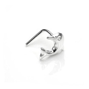 Sterling Silver Dolphin L-Shaped Nose Stud / Studs / Cute