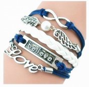 SheClub® Wax Rope Braided Blue Bracelet, Fashion Infinity Angel Wings Love/ Believe/ Charm Bracelet with White Bead Wax Cord Rope Bracelets