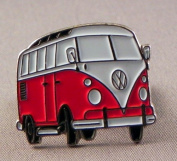 Metal Enamel Pin Badge Brooch Volkswagen VW Camper Van Transporter RED