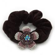 Medium Rhodium Plated. Crystal Flower Pony Tail Black Hair Scrunchie - Purple/ Clear