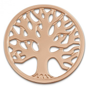 Amello Stainless Steel Coin Tree of life rose-gold plated - coin with a diameter of 30mm - Stainless Steel Jewellery ESC502E