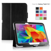 MOFRED® Black Samsung Galaxy Tab 10cm - 26cm Case-MOFRED® Retail Packed Executive Multi Function Standby Case with Built-in Magnet for Sleep / Wake Feature For the Samsung Galaxy Tab 4 26cm Tablet + Screen Protector + Stylus Pen (Available in ..